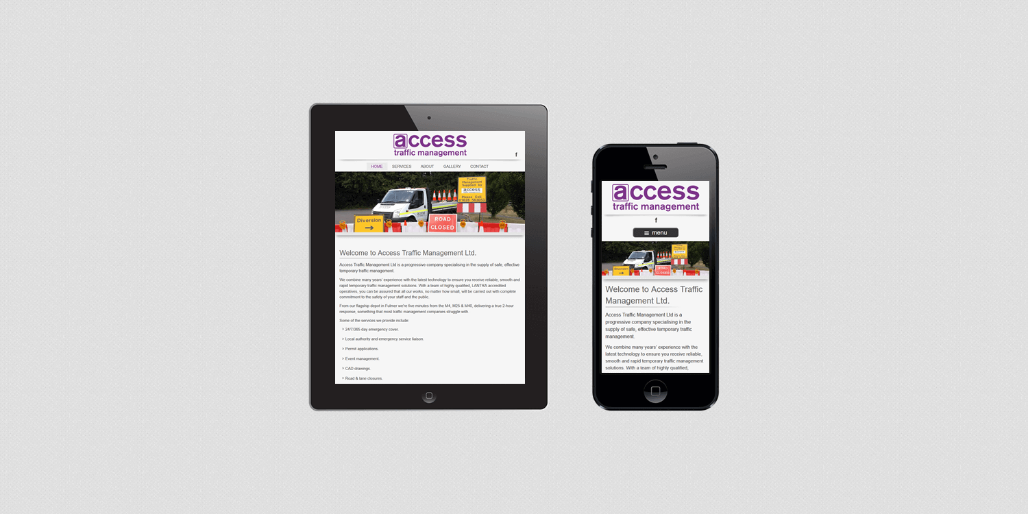 Access TM website design by create/enable on a smartphone and a tablet