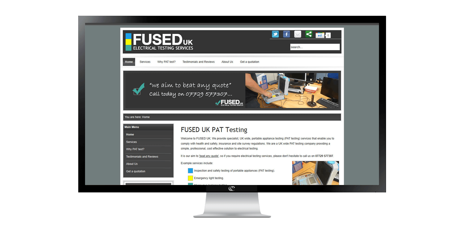 Fused UK website design by create enable on a desktop pc v1