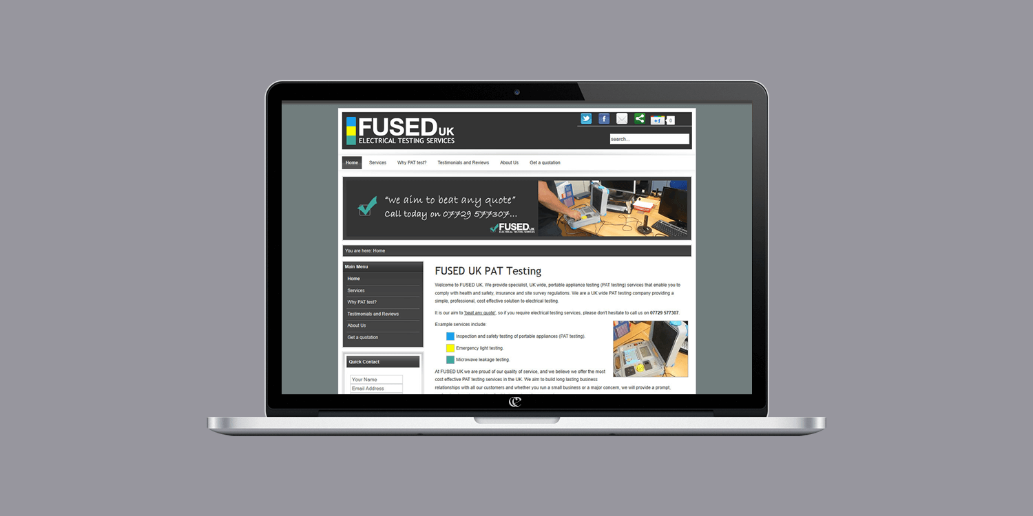 Fused UK website design by create/enable on a laptop.