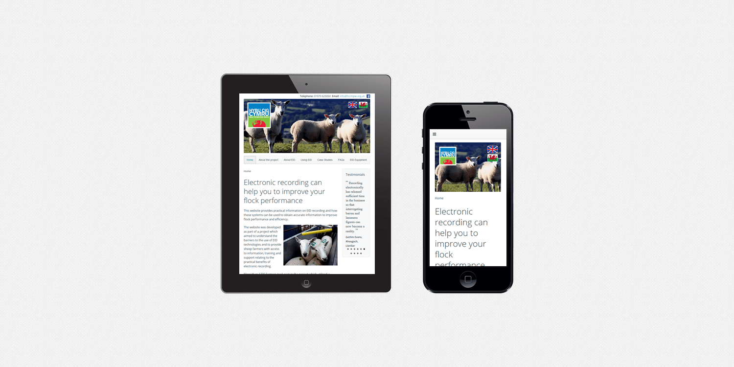 Ewe manage IT website design by create/enable on a smartphone and a tablet