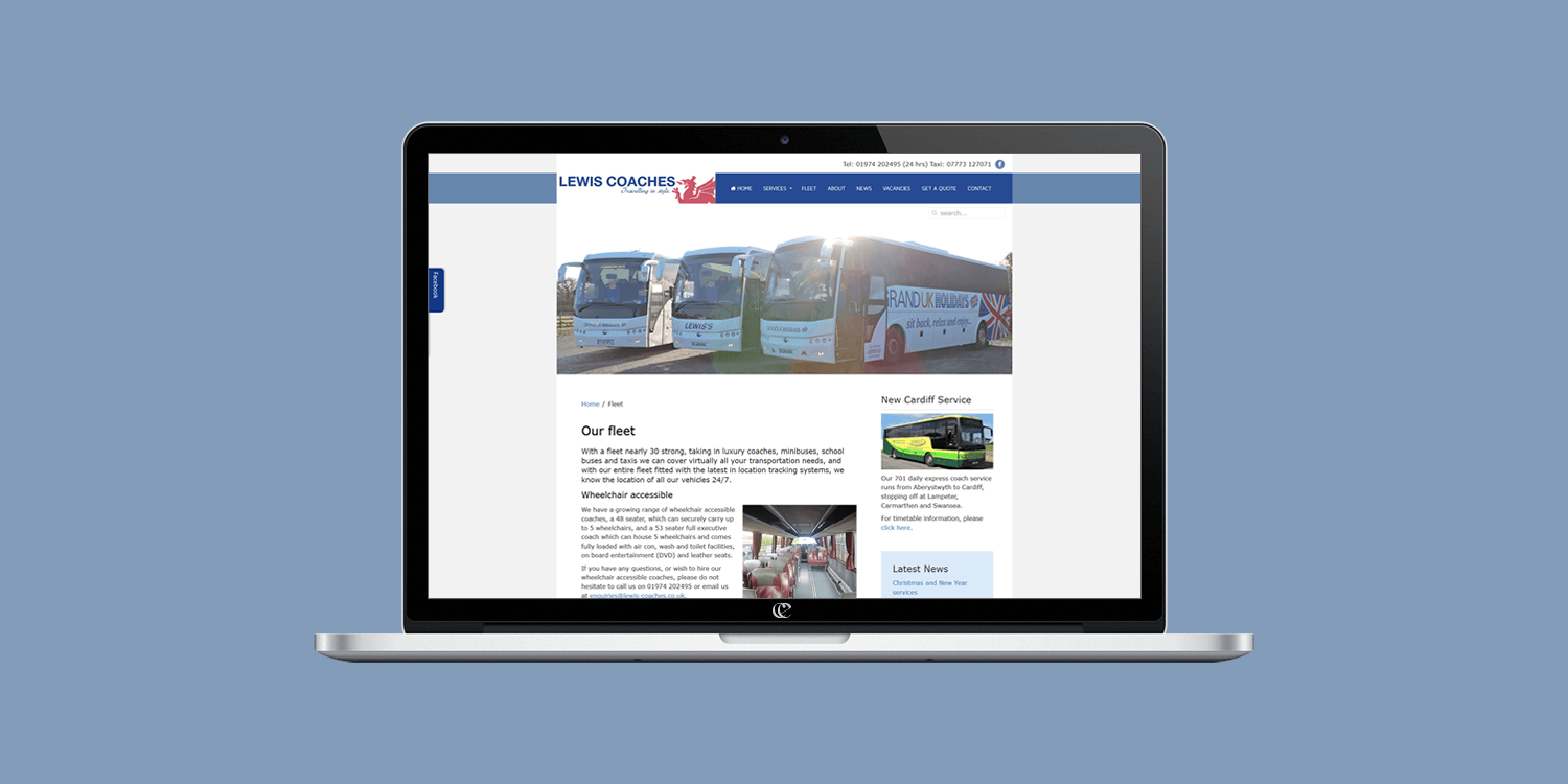 Lewis Coaches website design by create/enable on a laptop.