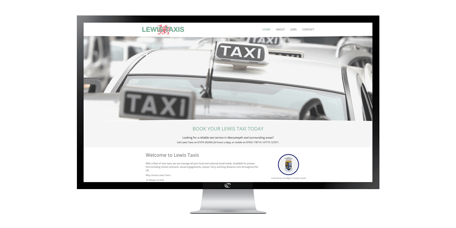 Lewis Taxis website design and development by create/enable on a desktop.