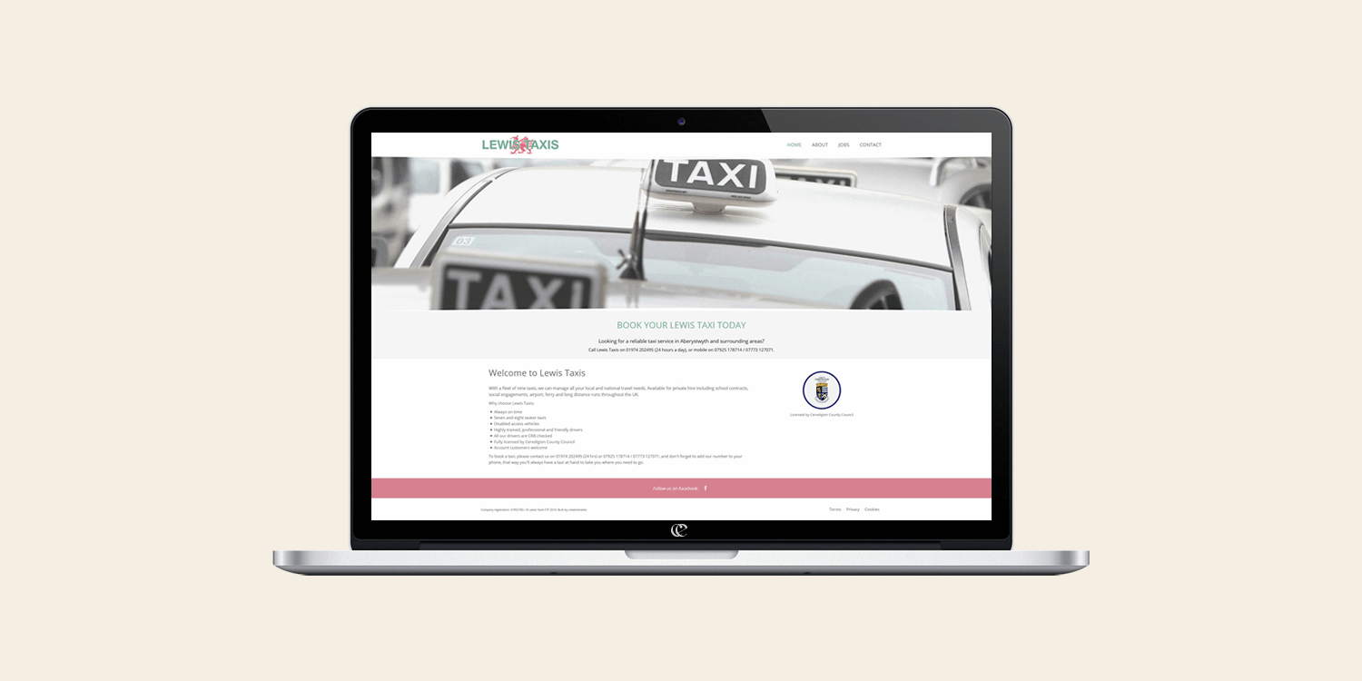 Lewis Taxis website design and development by create/enable on a laptop.