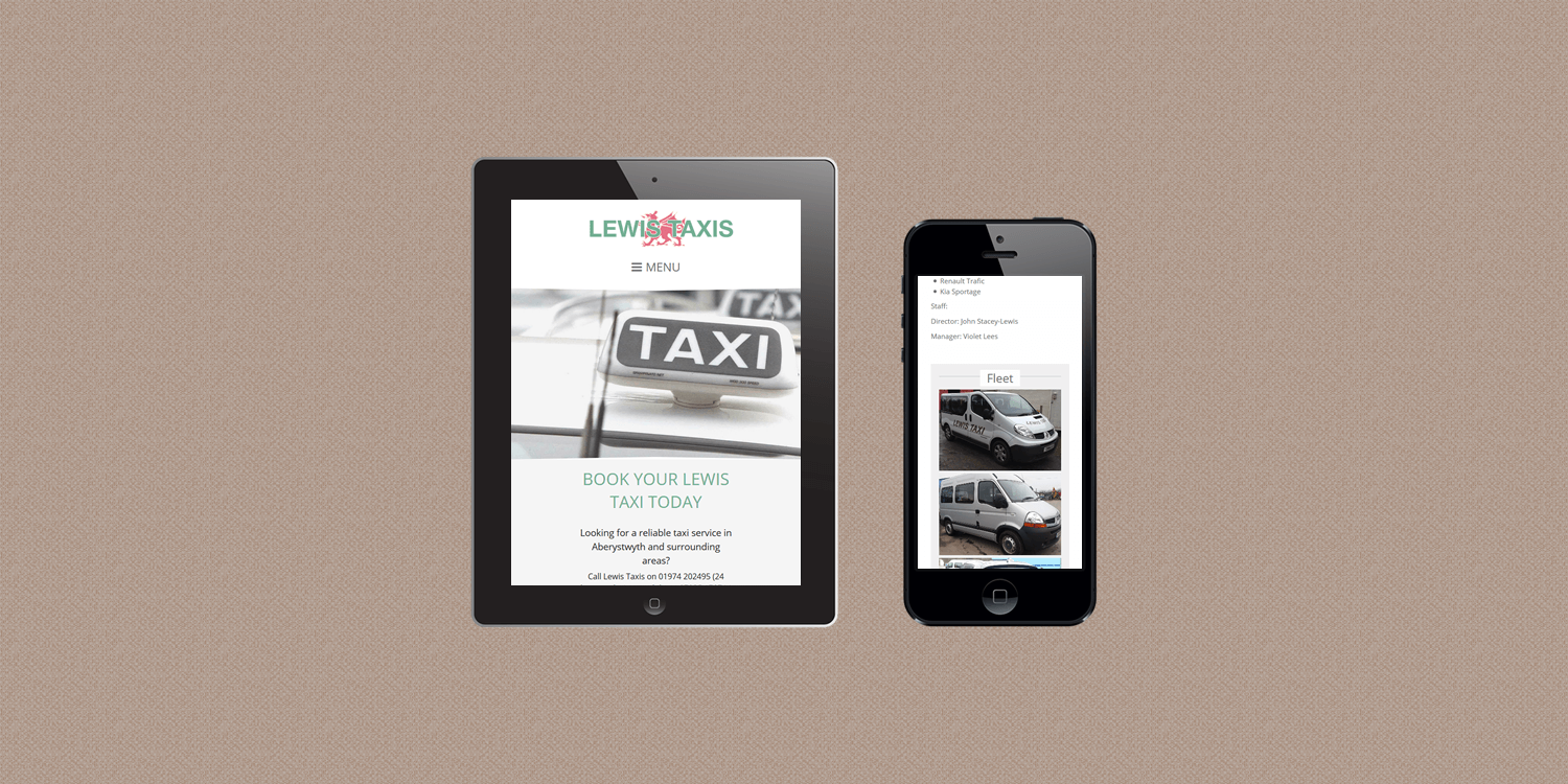 Lewis Taxis website design by create enable tablet and smartphone