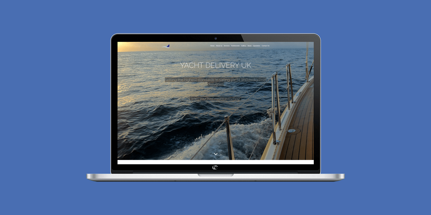 Yacht Delivery UK custom website design by create enable laptop