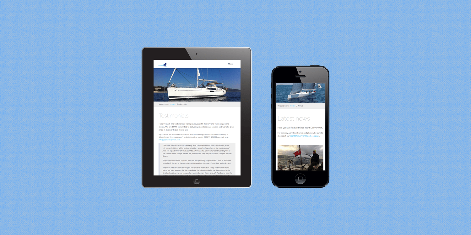 Yacht Delivery UK custom website design by create enable tablet and smartphone