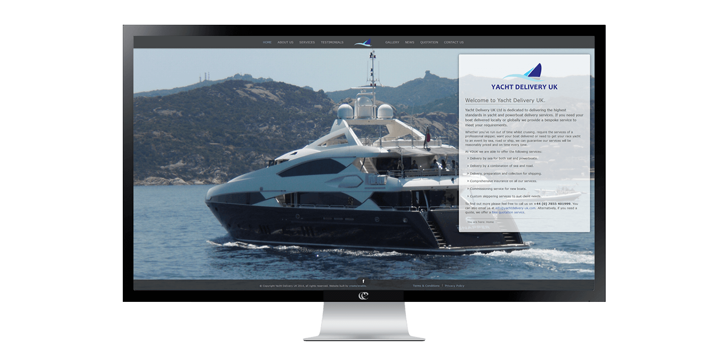 Yacht Delivery UK website design by create-enable on a desktop