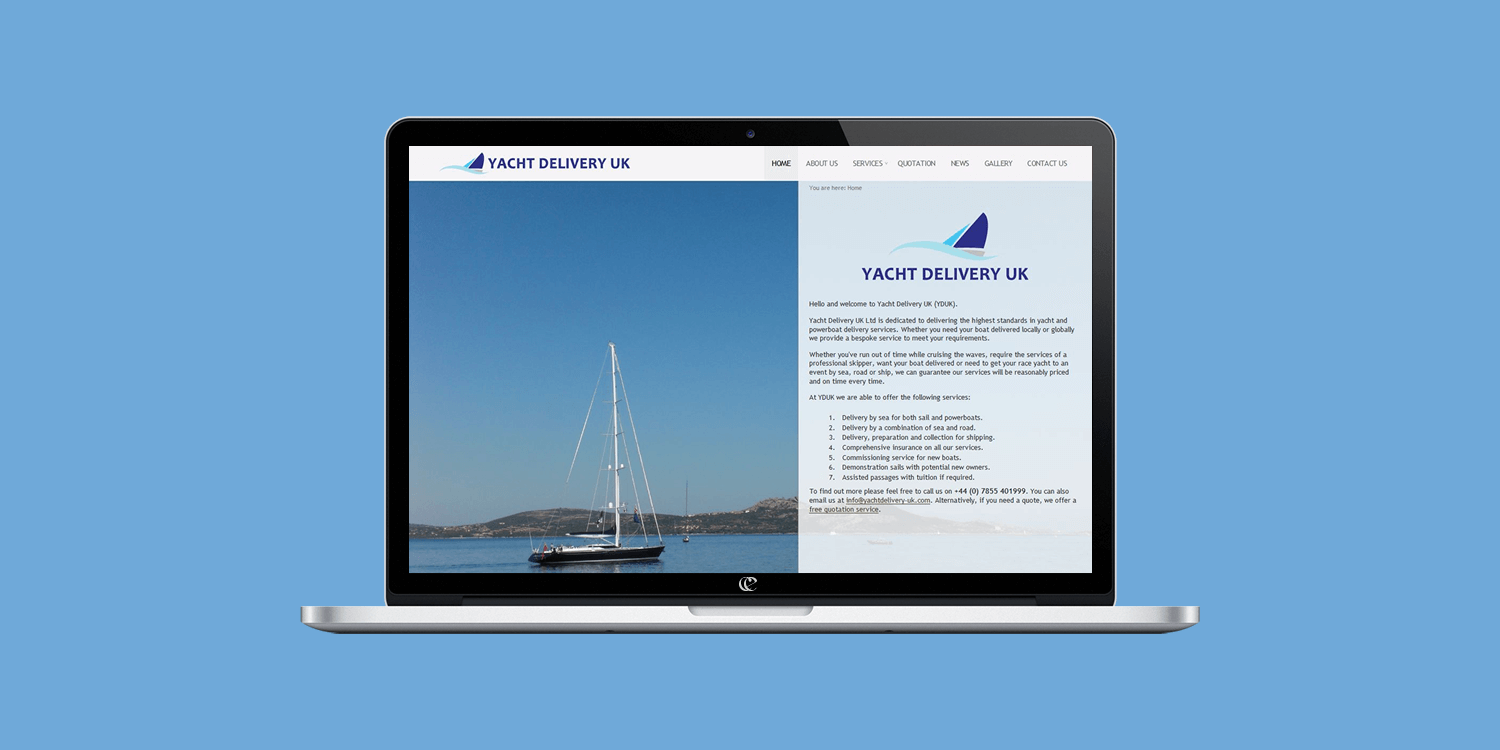 Yacht Delivery UK website design by create-enable on a laptop v1