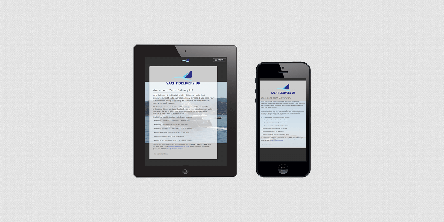 Yacht Delivery UK website design by create/enable on a smartphone and tablet